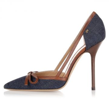 Decolletes con tacco in Pelle e Denim 11,5 Cm
