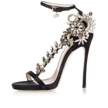 12 Cm Satin High Heel Sandal with Jewel Detail