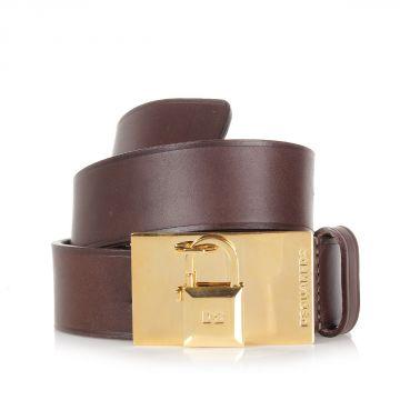 Cintura in Pelle con Dettaglio Lucchetto