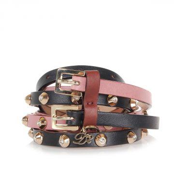 Doppia Cintura in Pelle con borchie in ottone e cristallo