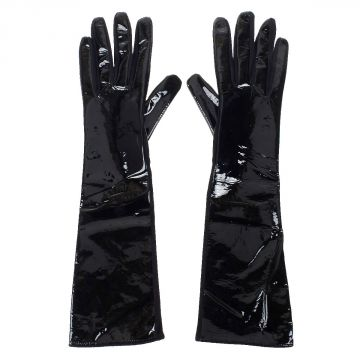 Long Patent Leather and Suede Gloves