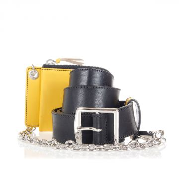 Cintura in Pelle con catena e portatessere