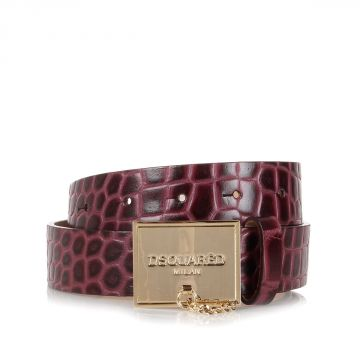 Crocodile Printed Leather Belt
