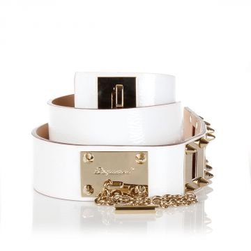 Studded Patent Leather Belt with chain