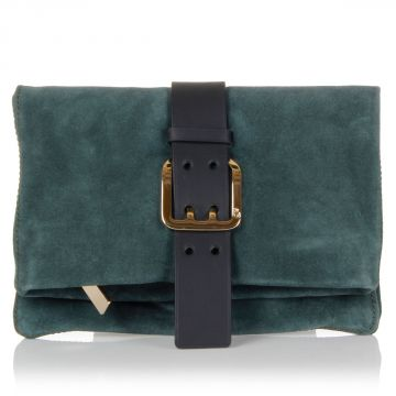 Suede Leather Clutch with belt