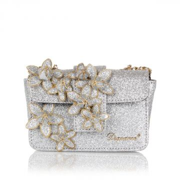 Glitter mini clutch with Flower applications