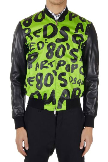 Pop art printed cotton and leather jacket