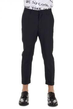 Pantaloni in lana vergine e seta