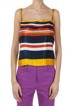 Top Multicolor a Righe in Seta