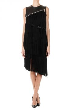 Sleeveless Leather Dress with Fringes
