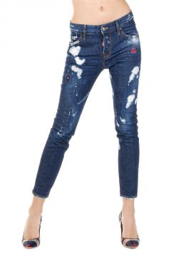 14 cm Destroyed Stretch Denim COOL GIRL Capri Jeans