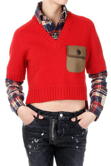 Sweater with Checked Shirt