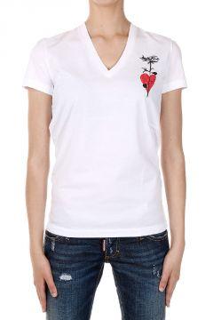 T-shirt Scollo V Stampata
