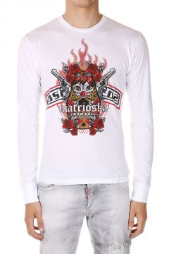 T-shirt Stampata a Manica Lunga in Cotone