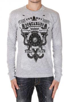 T-shirt Girocollo con Manica Lunga  in Cotone