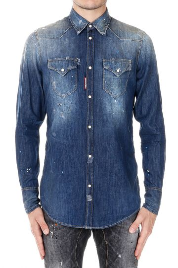 Destroyed Denim Shirt