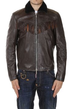 Leather Jacket with Fur Neck