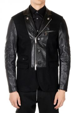 Wool and Leather Biker Jacket