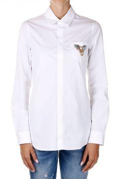 Camicia in Popeline di cotone con Strass sul Taschino