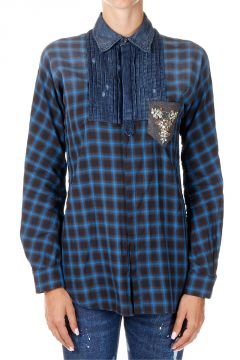 Checked Rhinestone Embroidery Shirt