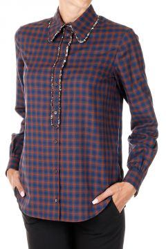 Checked Sequins Embroidery Shirt