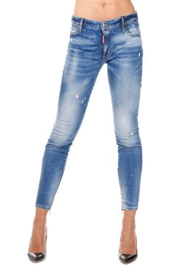 Jeans TWIGGY Con Zip alla Caviglia in Denim Stretch 11 cm