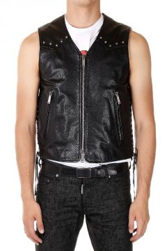 Gilet in pelle con Borchie Applicate