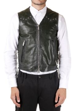Leather Vest with Applied Studds