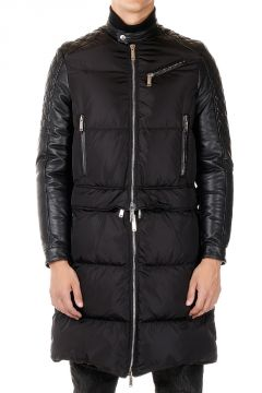 Down Jacket With Leather Details