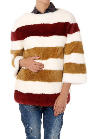 Mink Fur Coat with Drawstring