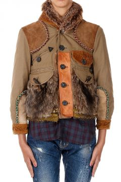 Padded Jacket with Fox and Raccoon Fur