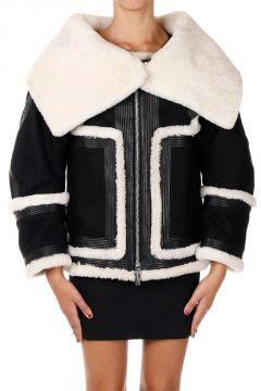 Wool Jacket with Shearling and Leather Details