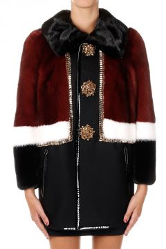 Mixed Virgin Wool Coat with Mink Fur