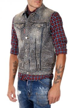 Gilet in Denim con Borchie