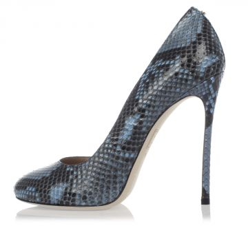 Python Skin Leather Pump  12 cm