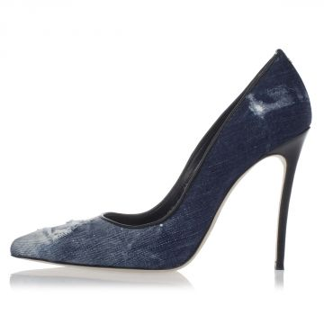 Decolletes Tacco a Spillo BASIC in Denim Lavato 12 cm