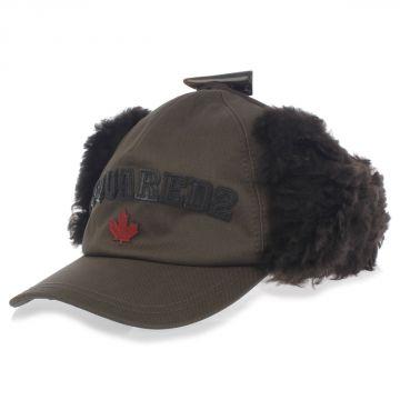 Cappello in Cotone con Pelliccia di Mongolia