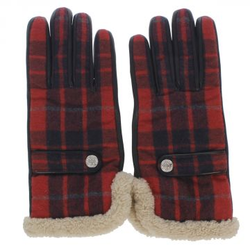 Leather and Wool Blend Checked Gloves