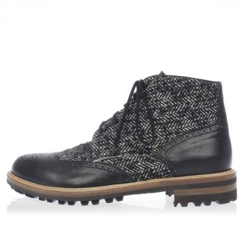 OTHELLO Tweed and Leather Ankle Boots