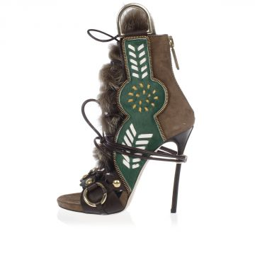 Sandalo in Pelle Scamosciata e Pelliccia 12 cm