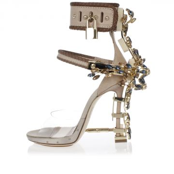 Leather Open toe Sandals adorned with Jewels