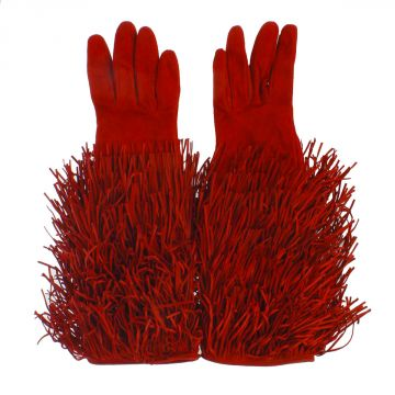 Suede Gloves with Fringes