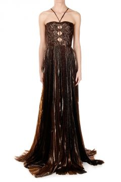 Silk Blend Long Pleated Dress