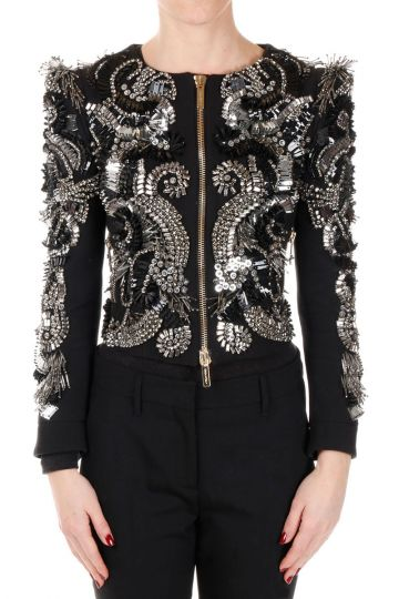 Embroided Jacket in Cotton with Paillettes