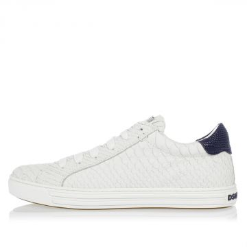 Sneakers Tennis in Pelle Stampa Squame