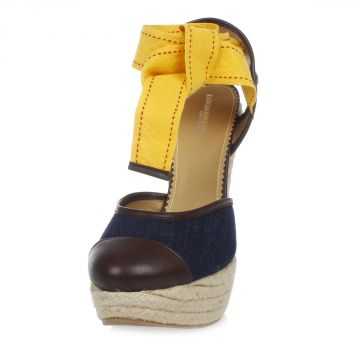 Espadrillas con Zeppa in Denim Lavato 14 cm