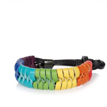 Multicolor Leather Woven Armlet
