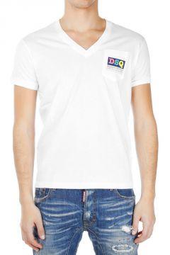 Printed V Neck Chic Dan Fit T-shirt