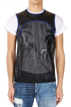 Sleeveless LONG COOL T-shirt with Leather Details