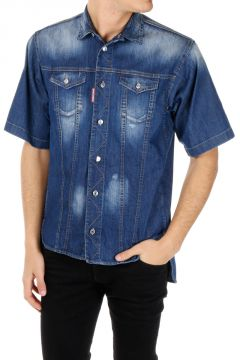 Camicia a Maniche Corte in Denim Stretch